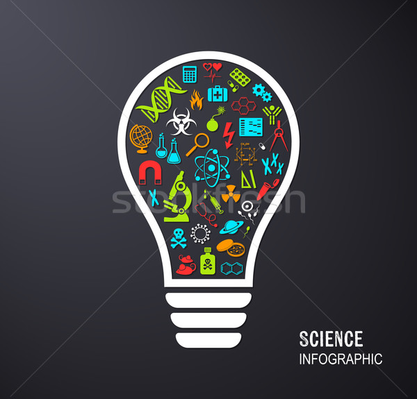 Light bulb with science icons Stock photo © blumer1979