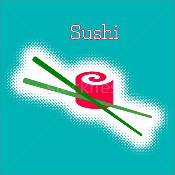 ベクトル 寿司 ロール ハーフトーン デザイン ストックフォト © blumer1979