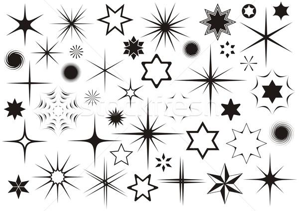 Gwiazdki różny czarny wektora kolekcja biały Zdjęcia stock © blumer1979