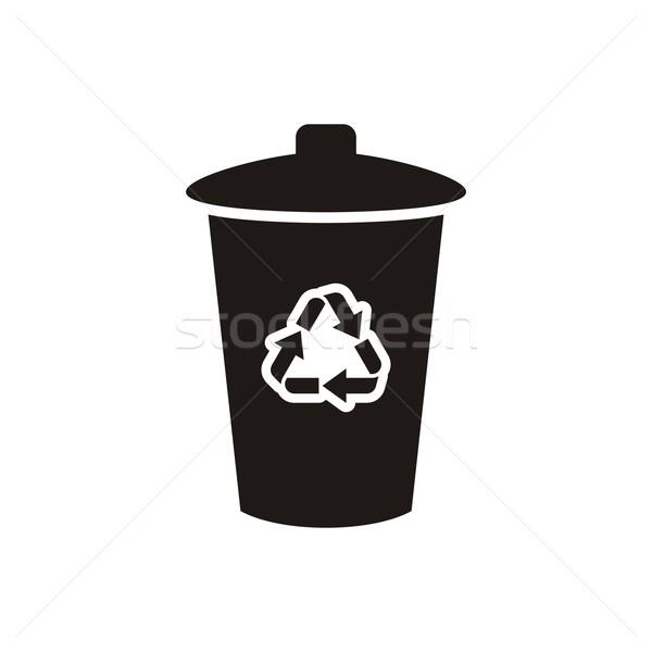 Сток-фото: Recycle · икона · черный · вектора · изолированный