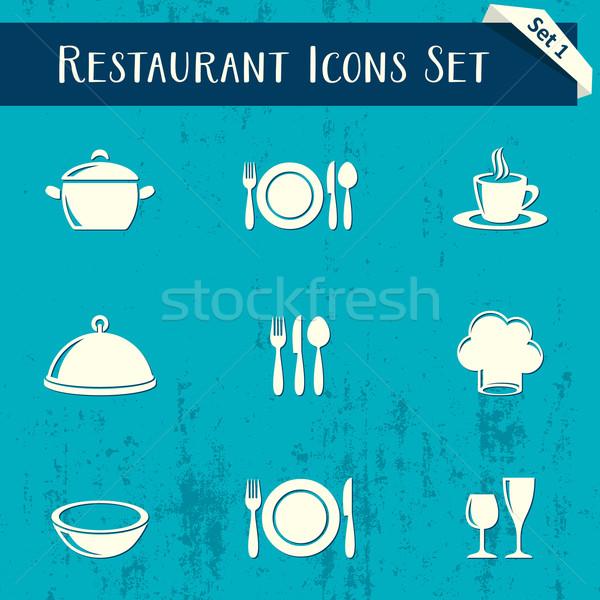 Stock fotó: étterem · ikonok · retro · gyűjtemény · vektor · kék