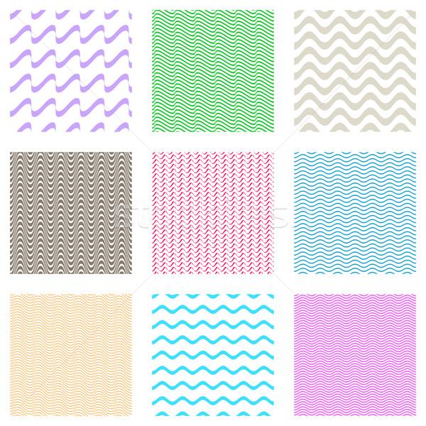 Foto stock: Sem · costura · ondulado · linha · padrões · colorido · vetor