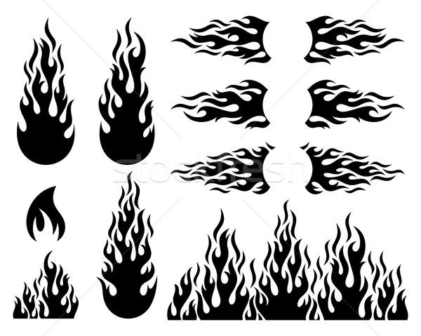 Yangın alev dizayn elemanları toplama siyah Stok fotoğraf © blumer1979