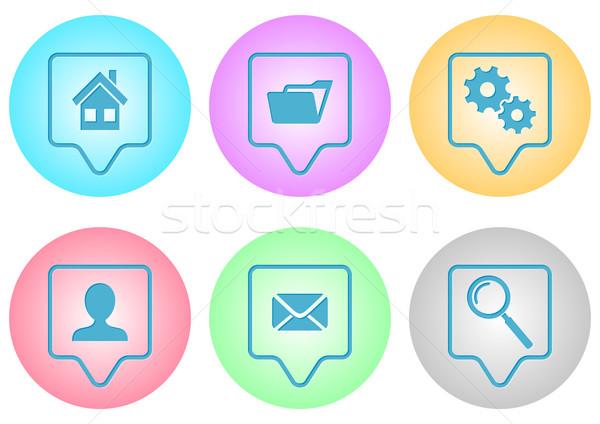 Website menu iconen vector kleurrijk helling Stockfoto © blumer1979