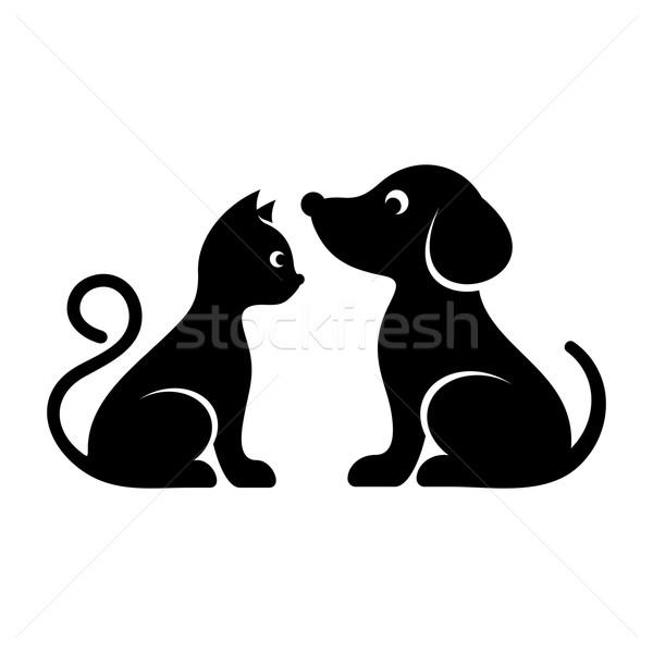 Cute vector gato perro iconos negro Foto stock © blumer1979