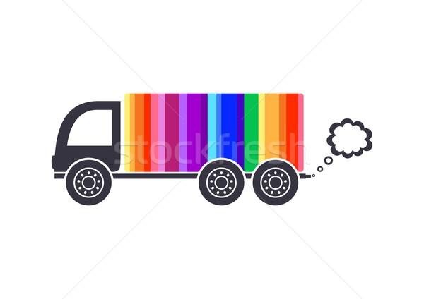 Teslim kamyon vektör gökkuşağı renkli ikon yalıtılmış Stok fotoğraf © blumer1979