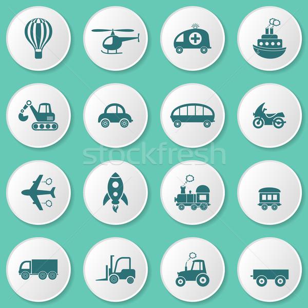 транспорт иконки Cute вектора различный белый Сток-фото © blumer1979