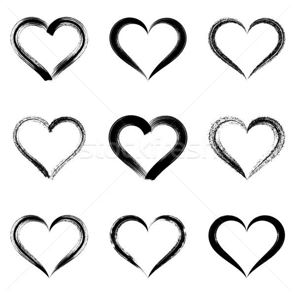 Zwarte vector harten schetst Valentijn Stockfoto © blumer1979