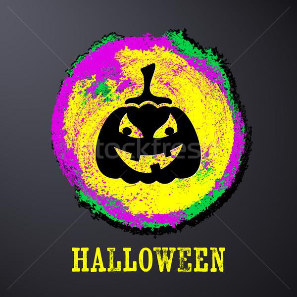 Stock photo: Black halloween card with pumpkin
