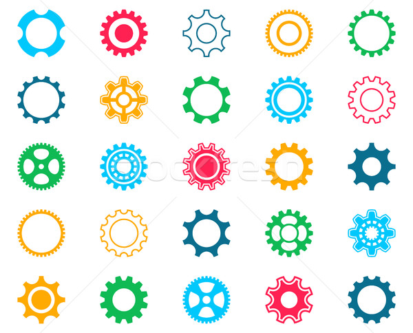 Collection of colorful gear wheel icons Stock photo © blumer1979