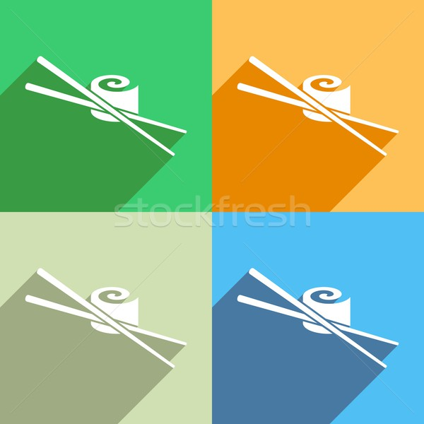Sushi icono blanco vector colorido fondos Foto stock © blumer1979