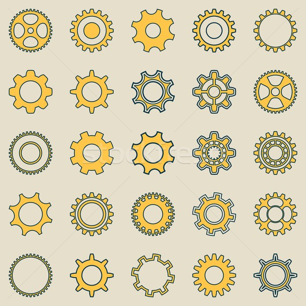 Gear wheel retro collection Stock photo © blumer1979