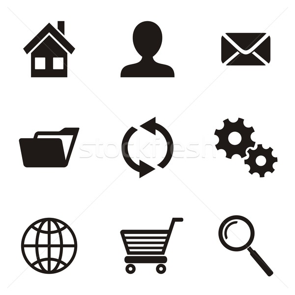 Vector website menu iconen zwarte witte Stockfoto © blumer1979