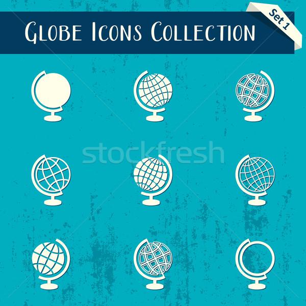 Globe icons retro collection Stock photo © blumer1979