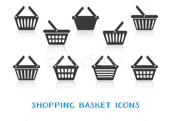 Shopping basket icons with reflection Stock photo © blumer1979
