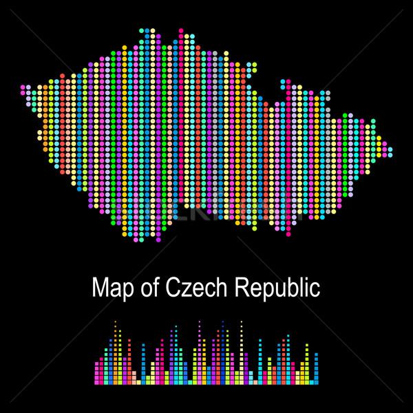 Foto stock: Mapa · República · Checa · vetor · colorido · ponto · padrão
