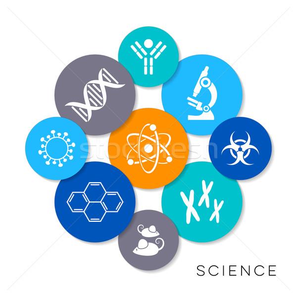 Foto stock: Vetor · ciência · ícones · moderno · colorido