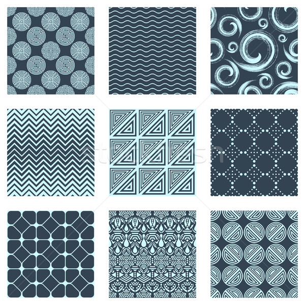 Vector set of nine seamless patterns Stock photo © blumer1979