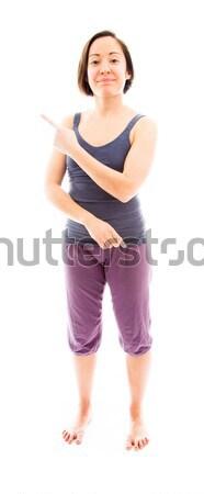 Young woman using imagery virtual screen Stock photo © bmonteny