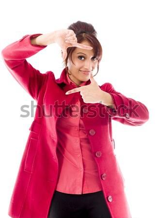 インド 若い女性 親指 ダウン にログイン ストックフォト © bmonteny