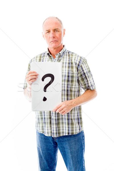 Idős férfi tart kérdőjel felirat portré Stock fotó © bmonteny