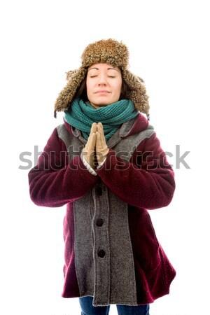 Foto stock: Mulher · jovem · agasalhos · em · pé · oração · posição
