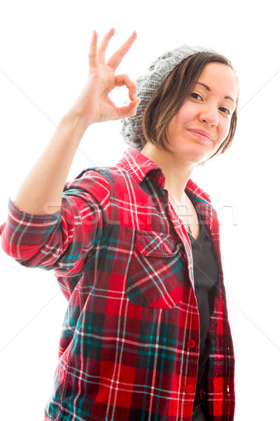 Fiatal nő mutat ok felirat fiatal felnőtt kaukázusi Stock fotó © bmonteny