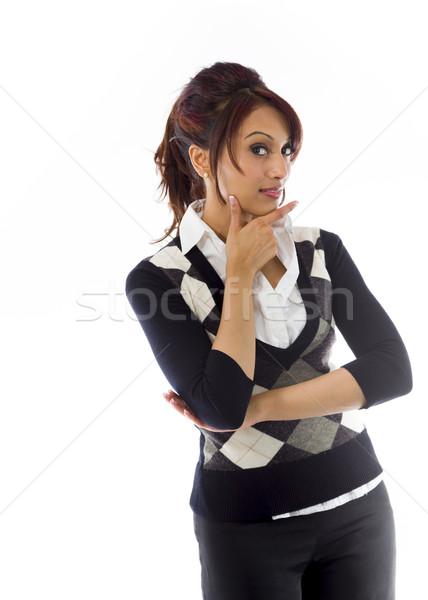Foto stock: Indio · mujer · de · negocios · mano · barbilla · adulto · mujer
