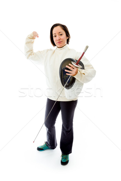 Female fencer showing off her muscle with holding a mask and swo Stock photo © bmonteny
