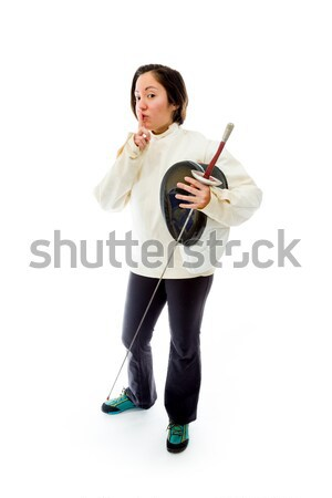 Female fencer thinking with her hand on chin Stock photo © bmonteny