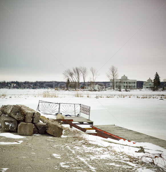Pier lago ontario Canada natura neve Foto d'archivio © bmonteny