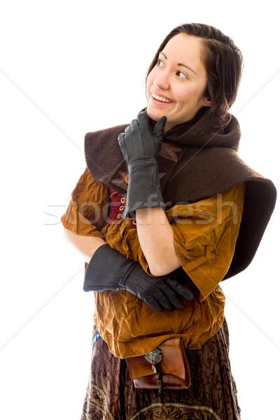 Mulher jovem pensando mão queixo caucasiano Foto stock © bmonteny