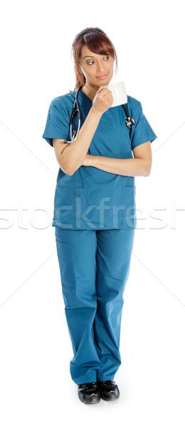 Séduisant indian femme isolé blanche médecin Photo stock © bmonteny