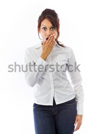 Indian young woman with hand over mouth isolated on white background Stock photo © bmonteny