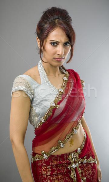Portré komoly fiatal indiai nő felnőtt Stock fotó © bmonteny