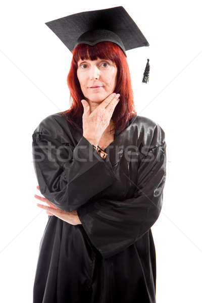 Portrait of a mature student standing with her hand on chin Stock photo © bmonteny