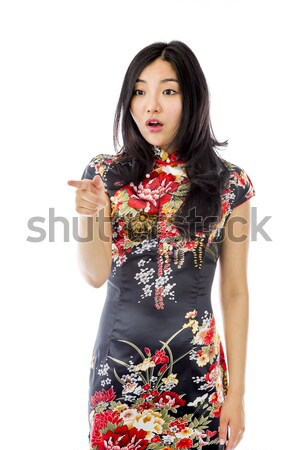 Stock fotó: Megrémült · ázsiai · fiatal · nő · mutat · izolált · fehér