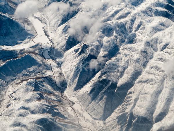 Légifelvétel hegy terjedelem tájkép hó tél Stock fotó © bmonteny