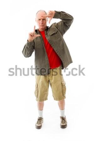 Senior man naar pijn shirt Stockfoto © bmonteny