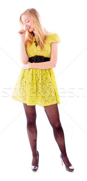 Foto stock: Belo · mulher · jovem · unhas · sapato · vestir