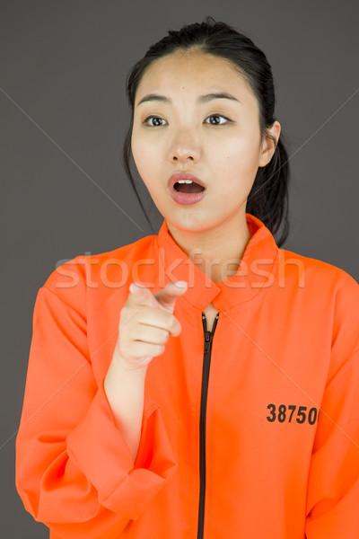 Stock fotó: Fiatal · ázsiai · nő · egyenruha · narancs · törvény