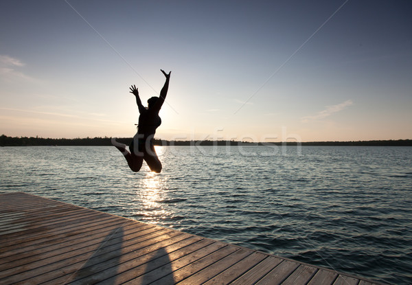 Silhouette of a woman diving in a bay, Georgian Bay, Tobermory,  Stock photo © bmonteny