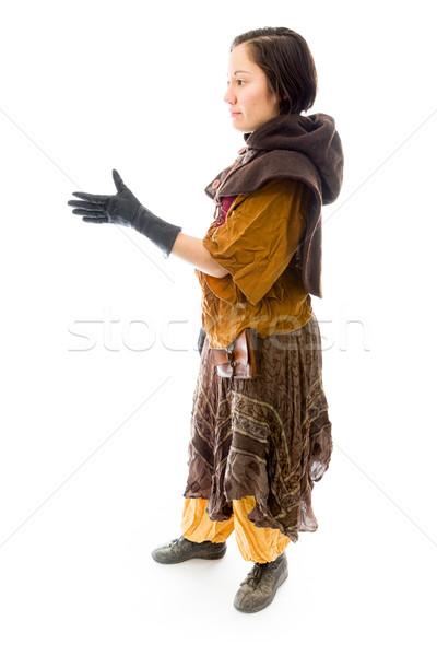 Lado perfil mulher jovem oferta mão aperto de mão Foto stock © bmonteny