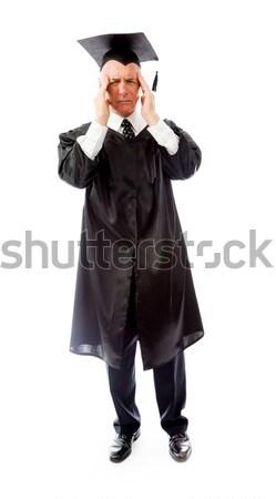 Senior mannelijke afgestudeerde lijden hoofdpijn onderwijs Stockfoto © bmonteny