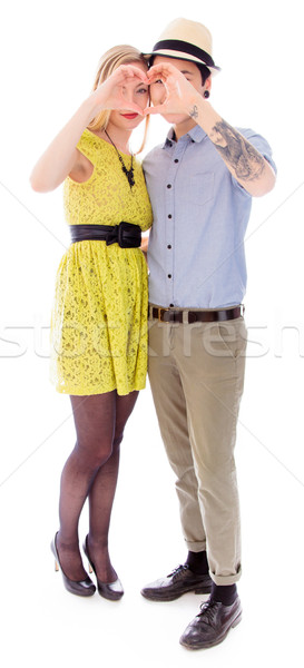 Lesbian couple making heart shape with hands Stock photo © bmonteny