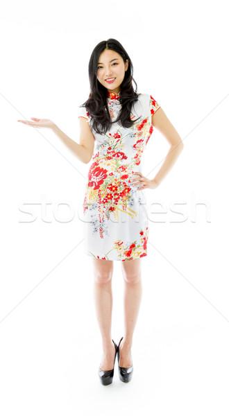 アジア 幸せ 若い女性 孤立した 白 ストックフォト © bmonteny