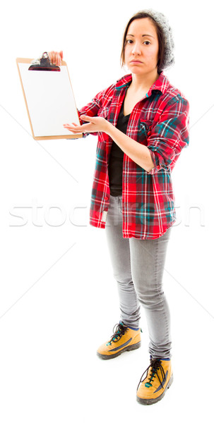 Fiatal nő néz szomorú mutat vágólap fiatal felnőtt Stock fotó © bmonteny