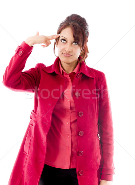 Indian young woman shooting self in head Stock photo © bmonteny