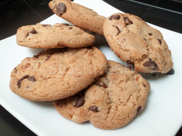 Chocolade chip cookies geserveerd plaat maaltijd Stockfoto © bmonteny