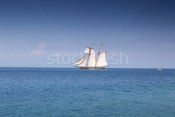 Sailboat moving in a bay, Georgian Bay, Tobermory, Ontario, Cana Stock photo © bmonteny